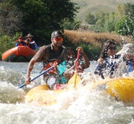 Paddling Through Rapids on the Weber river