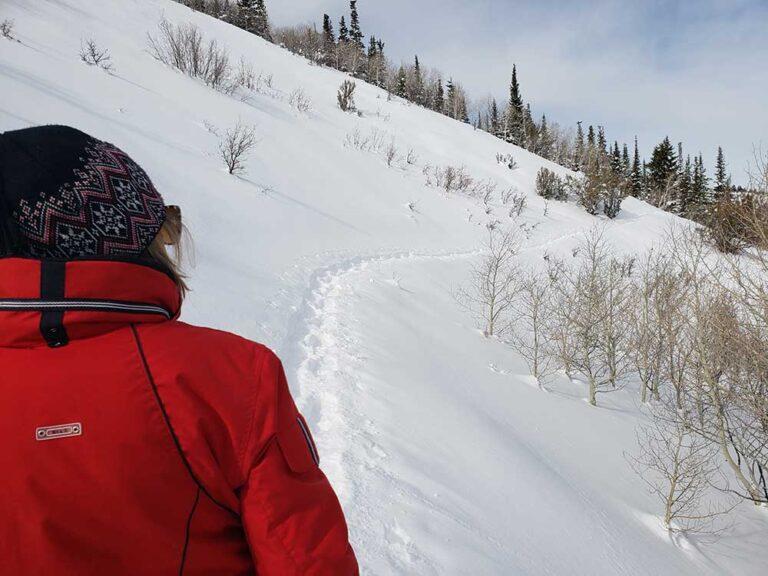 Woman on Park City Snowshoe Trail